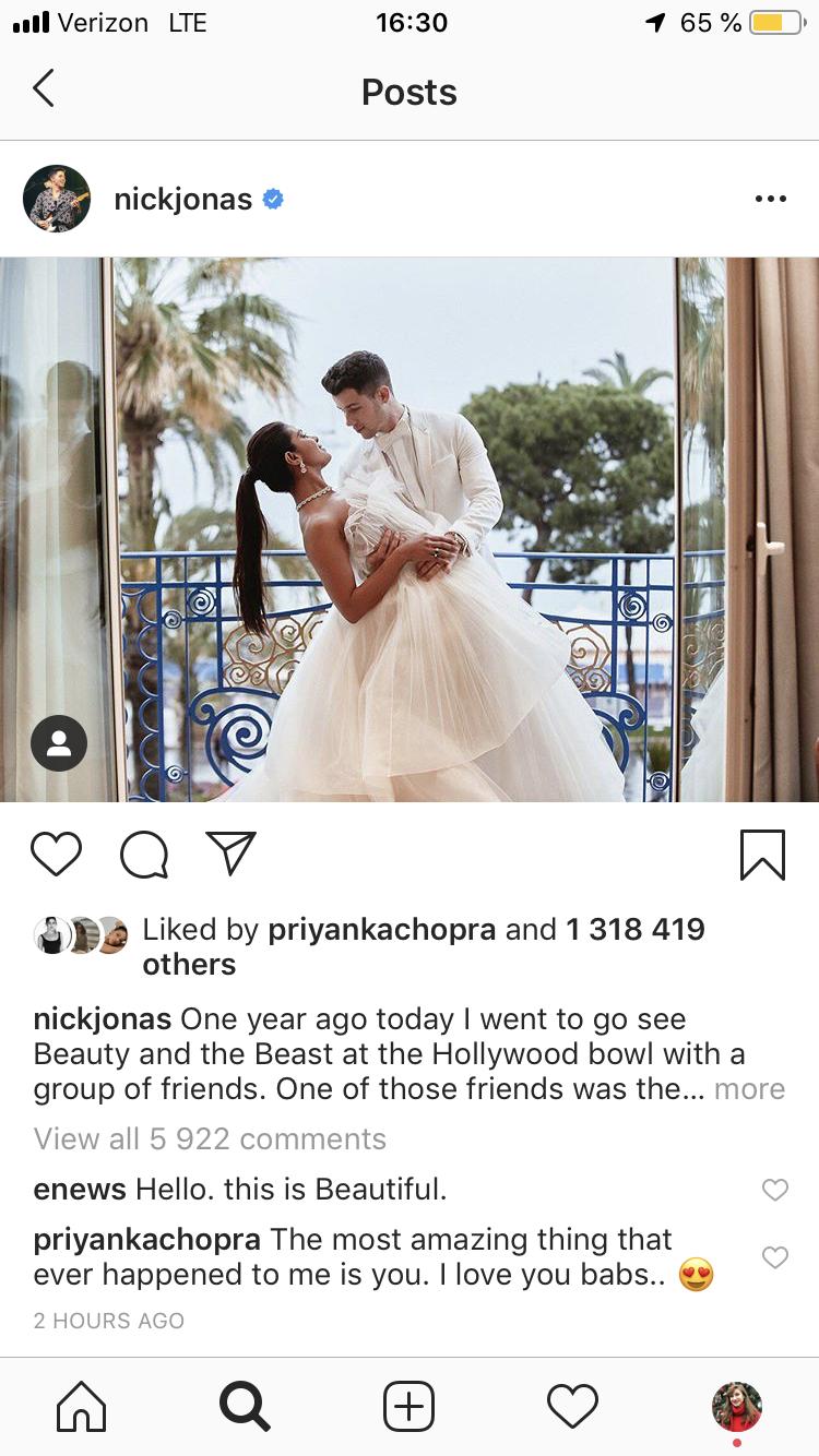 Priyanka Chopra Left the Most Romantic Comment on Nick Jonas's One-Year Dating Anniversary Tribute