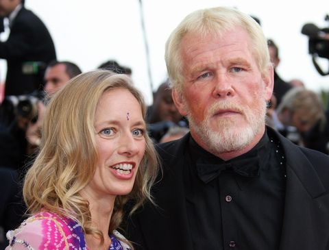cannes, france  us actor nick nolte and guest arrive at the festival palace for the screening of the film paris je taime at the 59th edition of the international cannes film festival in cannes, southern france, 18 may 2006 competition gets underway in earnest at the cannes film festival 18 may with films stoking controversy for their focus on pivotal political events fuelled by youthful dreams of freedom afp photo  valery hache  photo credit should read valery hacheafp via getty images