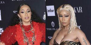 Nicki Minaj y Cardi B en la fiesta de Harper's Bazaar antes de su pelea