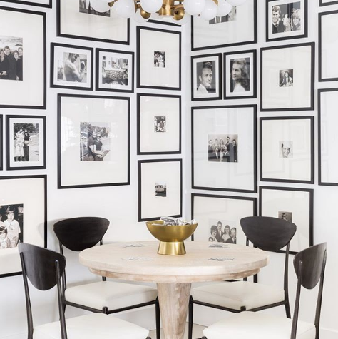 Furniture, Room, Table, Interior design, Wall, Black-and-white, Dining room, Chair, Wallpaper, Kitchen & dining room table,