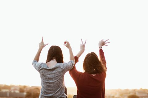 People in nature, Cheering, Arm, Happy, High five, Gesture, Fun, Hand, Photography, Finger,