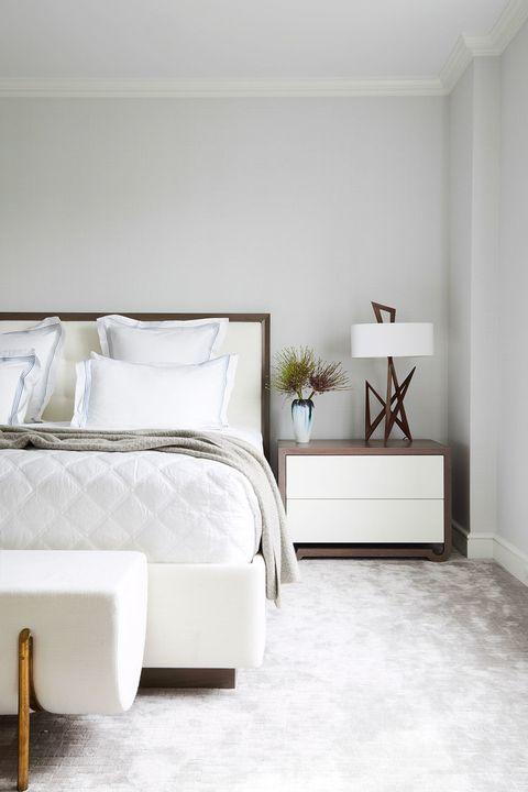 Bedroom, White, Furniture, Bed, Room, Interior design, Floor, Property, Bed frame, Wall,