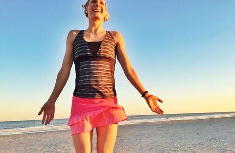 Finger, Shoulder, Elbow, People on beach, Human leg, People in nature, Summer, Waist, Coastal and oceanic landforms, Sunlight,