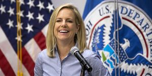 Homeland Security Secretary Kirstjen Nielsen Visits Border Wall Construction Site In Calexico, California