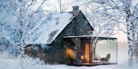 Winter, Snow, Home, House, Freezing, Blue, Tree, Atmospheric phenomenon, Frost, Sky,