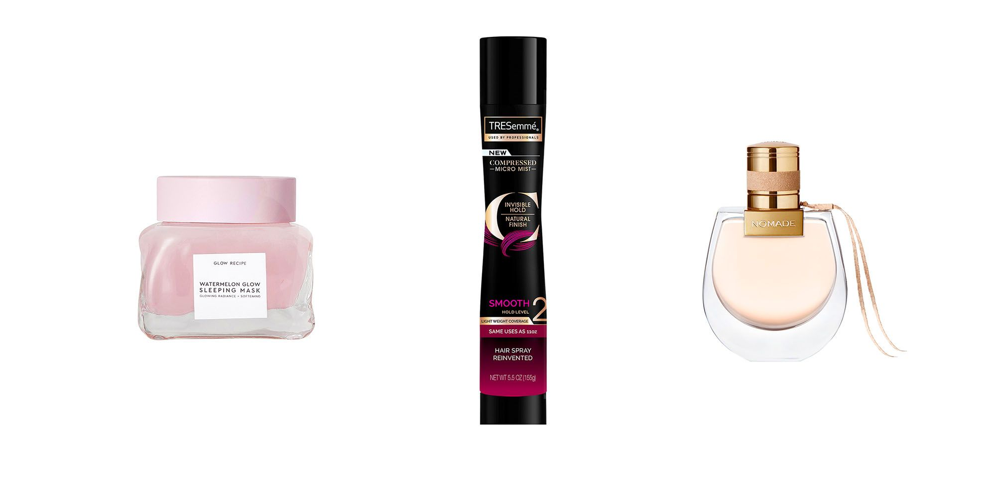 Glow Recipe watermelon mask, tresseme hair spray, chloe perfume