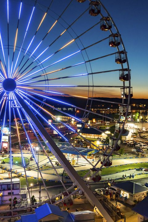 night summer aerial view of the branson ferris wheel in branson, missouri