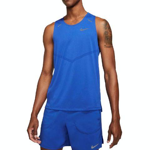 nike drifit rise 365 singlet heren blauw sportshirt sportkleding