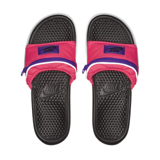 55885487e196 Nike Benassi Fanny Pack Slides in Magenta. Courtesy. Benassi s are the  nubbly soccer sandals ...