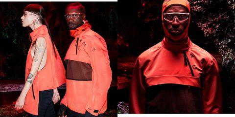Red, Pink, Fashion, Eyewear, Jacket, Outerwear, Textile, Glasses, Style, Costume,