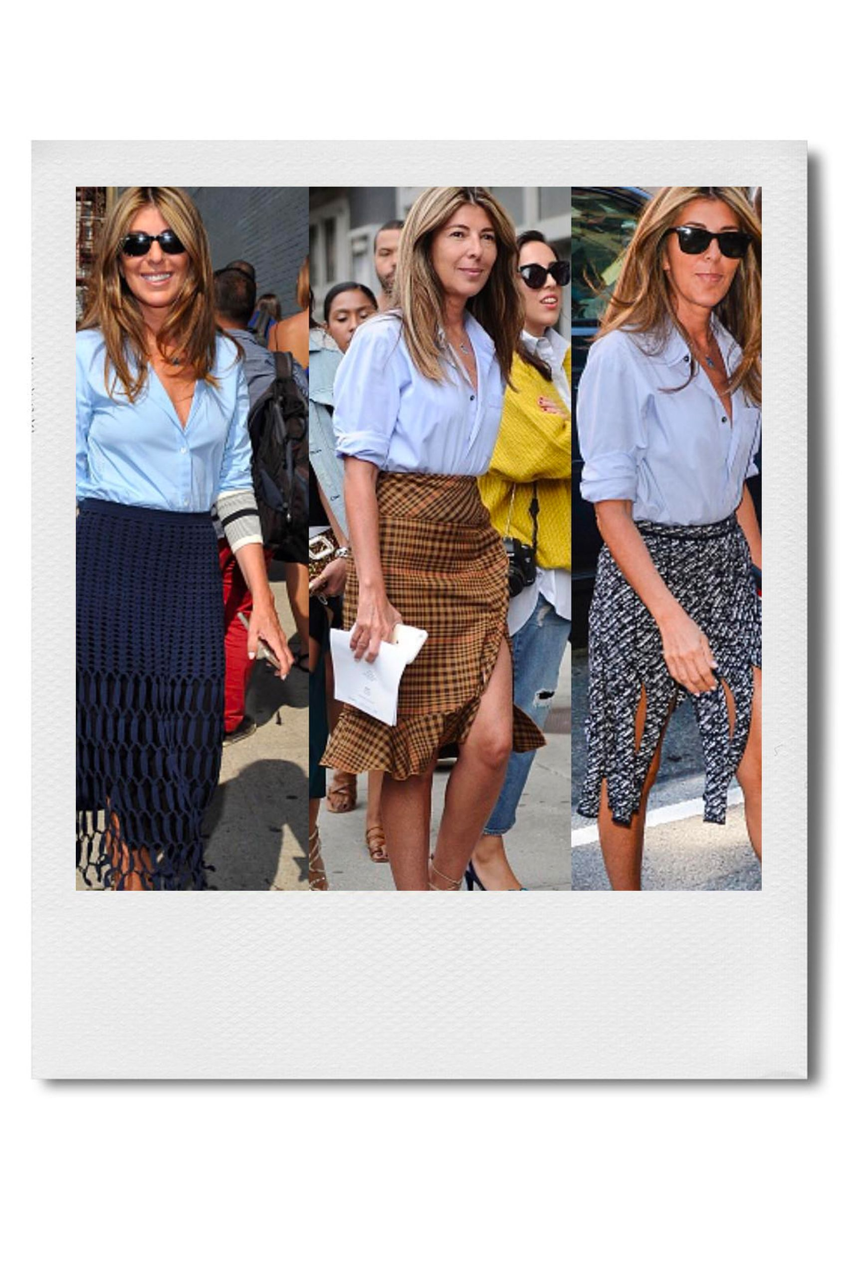 """Nina Garcia, Editor in Chief of ELLE Magazine """"I love color for the summer. My go-to office piece is a dress, worn with flat sandals—I'll change into high heels for the evening to dress it up.  Another work outfit formula I revert to a lot during warm weather is a white, black, or blue button-down shirt with an embellished skirt. If I'm going straight from the office to a dinner, I might switch out the shirt to something dressier—like a silk blouse—or add a jacket. This summer, I'm also looking forward to accessorizing with some fun, colorful pieces."""""""
