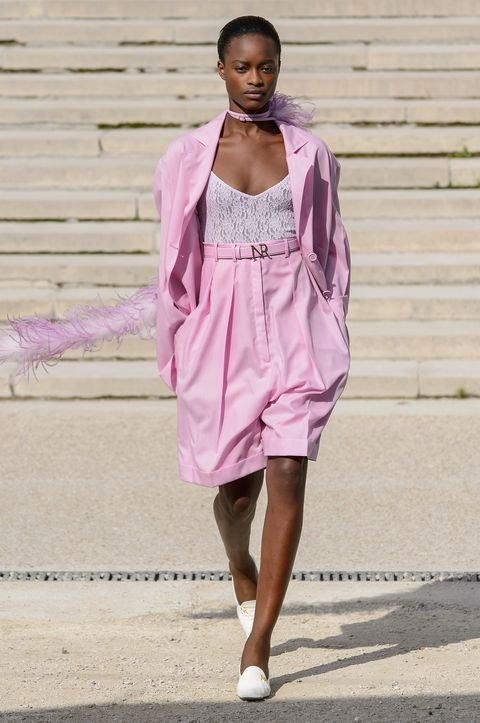 Fashion model, Clothing, Fashion, Pink, Street fashion, Shoulder, Fashion design, Dress, Fashion show, Summer,