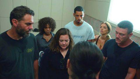 Bobby Cannavale, Regina Hall, Melissa McCarthy and Luke Wilson in the Amazon series Nine Perfect Strangers