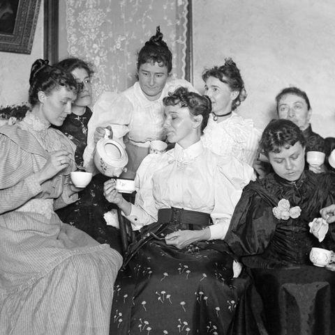 Women at a tea party, ca. 1900.