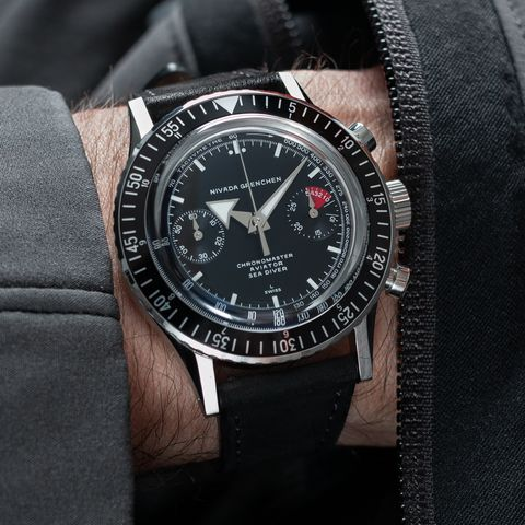 chronograph watch on wrist