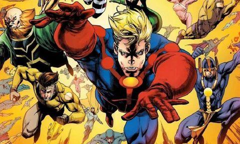 Comics, Fictional character, Superhero, Fiction, Hero, Comic book, Animated cartoon, Justice league, Illustration, Team,