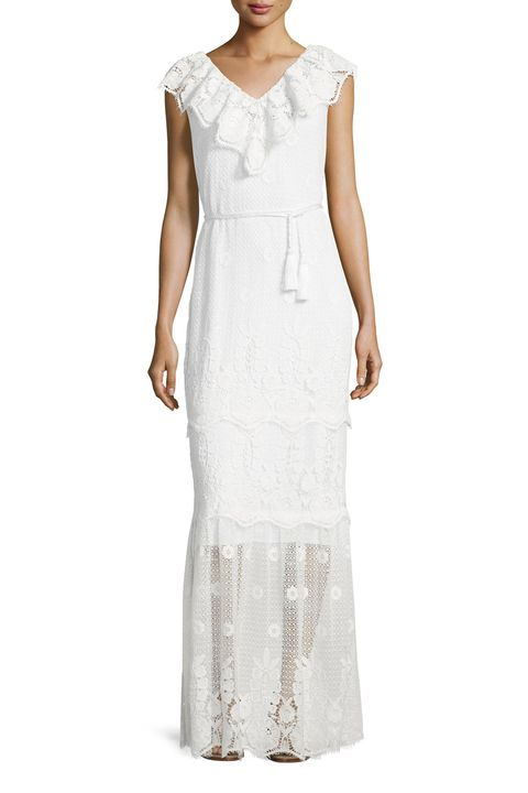 Clothing, Dress, White, Gown, Day dress, Neck, Sleeve, Sheath dress, Cocktail dress, Formal wear,