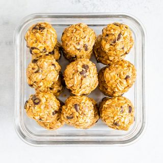 no bake energy balls in a glass container