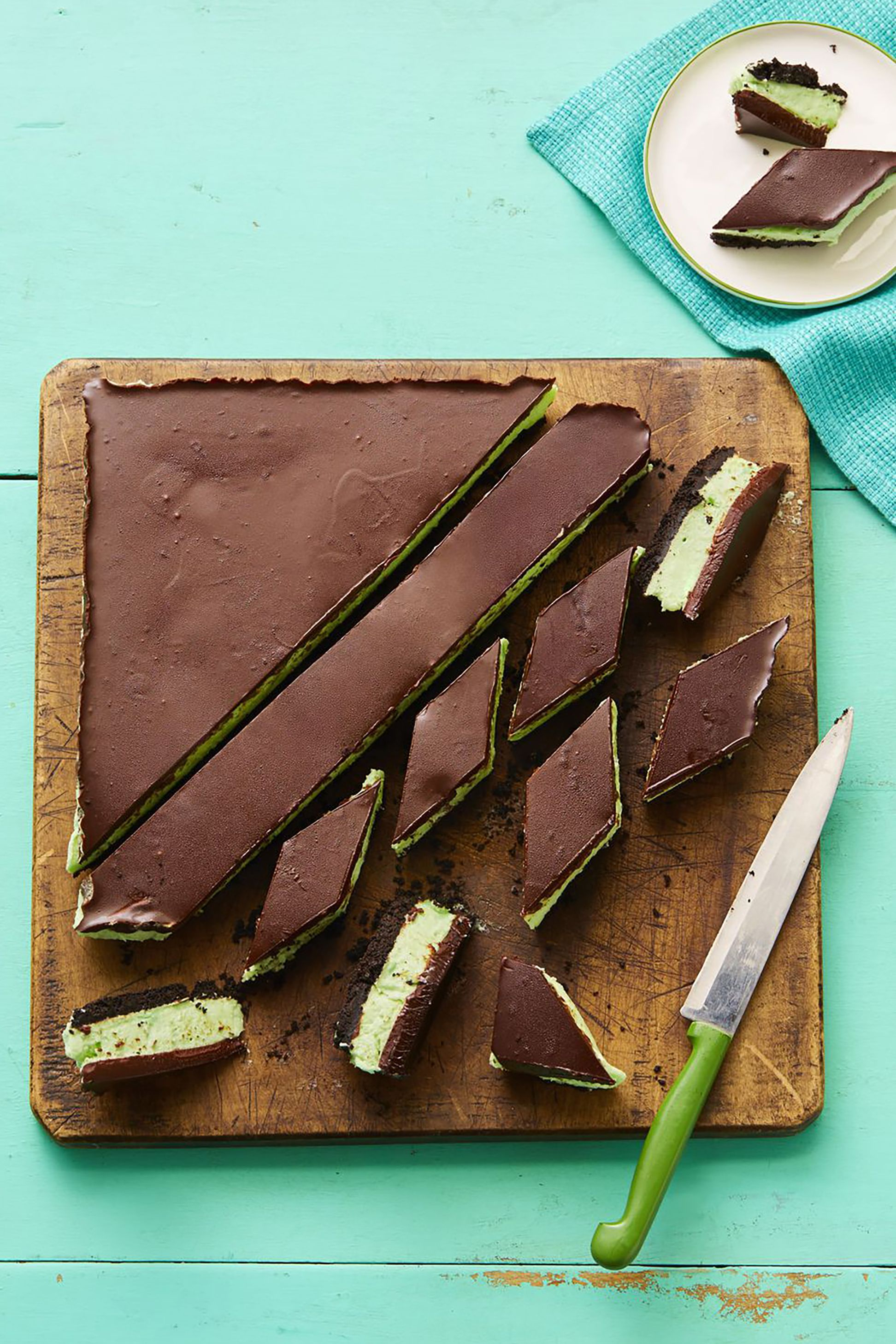 grasshopper bars no bake summer desserts
