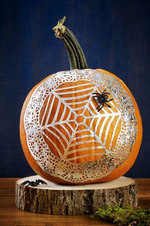 no carve pumpkin ideas spiderweb