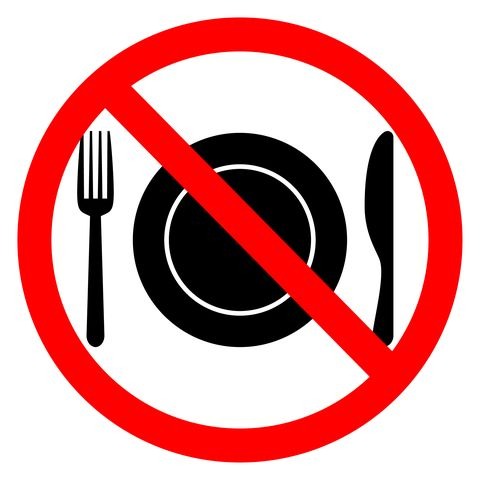 No food sign in white background