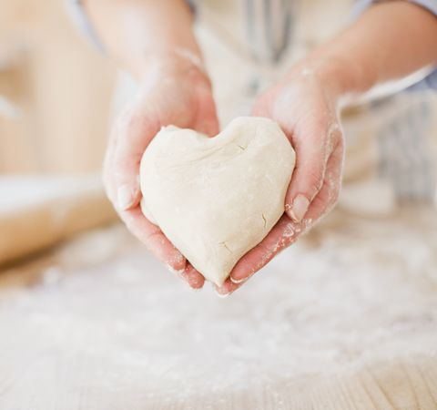 heart shaped bread dough