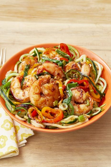 zucchini noodle bowl with spicy shrimp stir fry