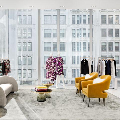 White, Furniture, Interior design, Room, Living room, Yellow, Pink, Purple, Wall, Lobby,