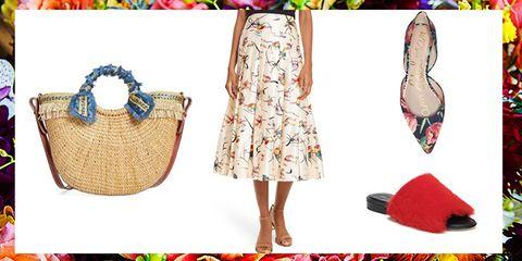 Footwear, Bag, Dress, Handbag, Shoe, Fashion accessory, Pattern,