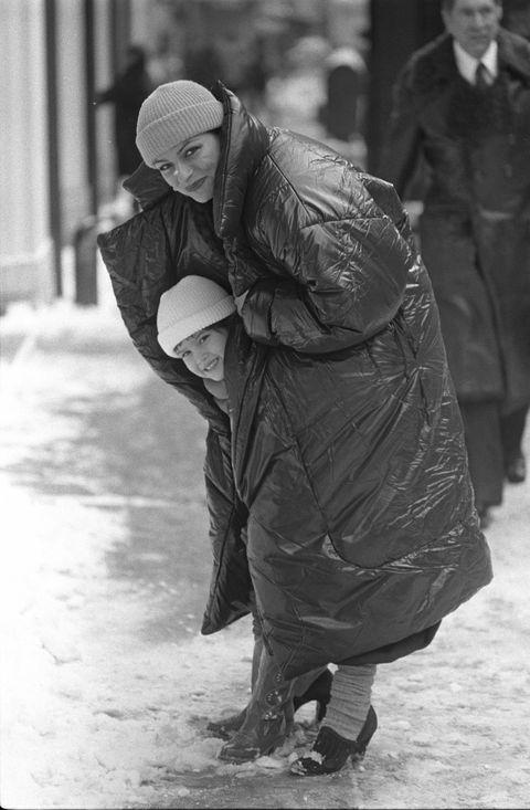 norma kamali wearing her sleeping bag coat