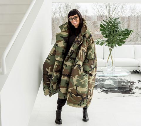 "norma kamali wears her ""sleeping bag"" coat"
