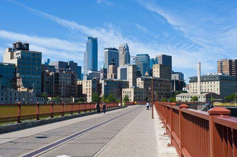 Minnesota, Minneapolis Skyline from Stone Arch Bridge