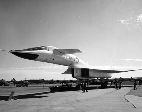 north american xb 70a valkyrie 34 front view low note the century series fighters parked in the background us air force photo