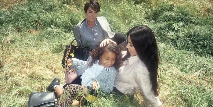 Campagnebeeld Fendi Kim Kardashian en North West