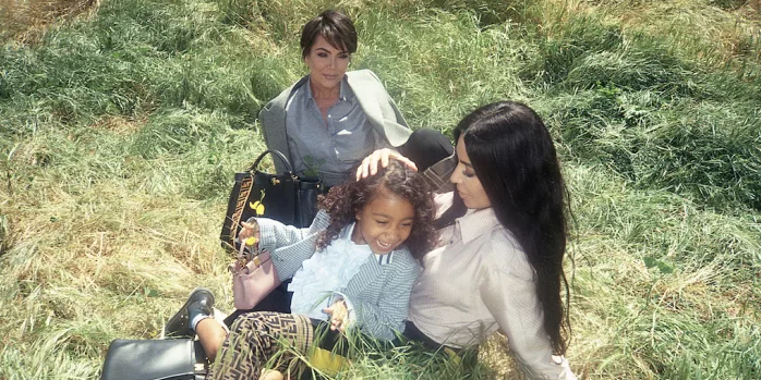 Campagnebeeld Fendi Kim Kardashian en North West