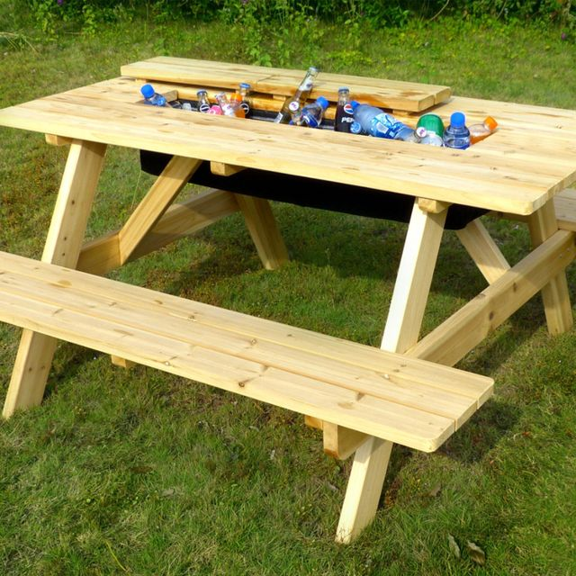 northbeam natural wood picnic table with built in cooler