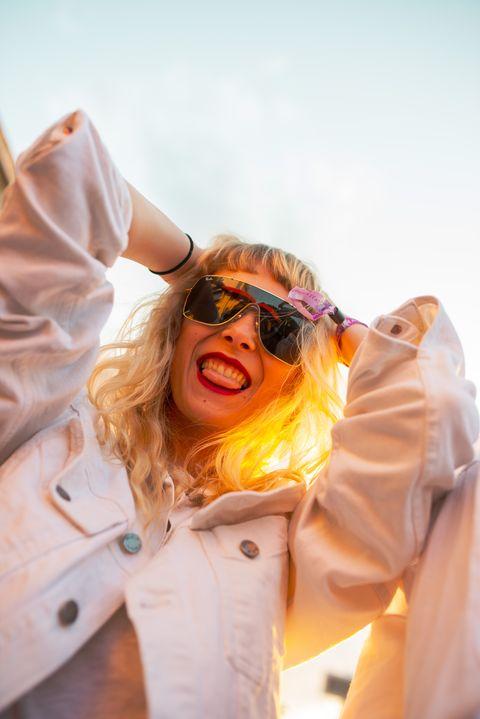 Yellow, Eyewear, Orange, Fun, Human, Glasses, Mouth, Cool, Outerwear, Smile,