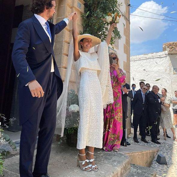vestido de novia brocado de dos piezas con pamela