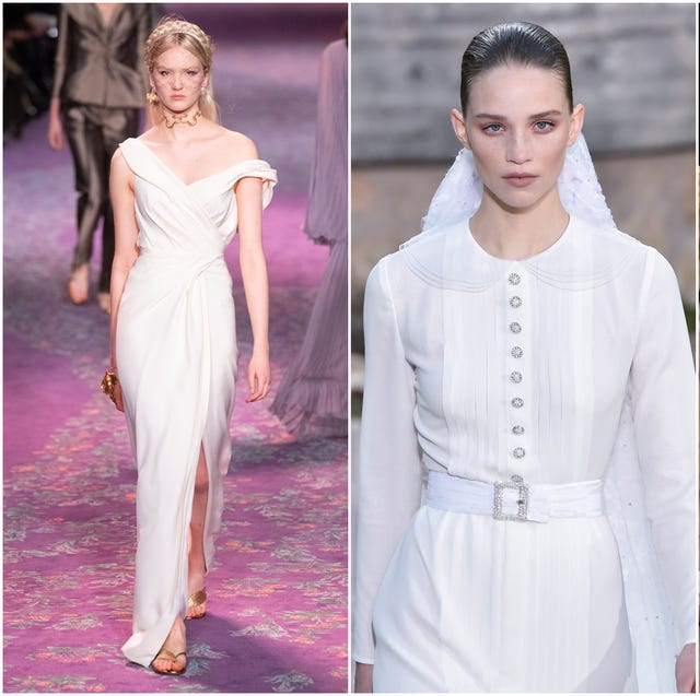 Wedding dress, Clothing, White, Dress, Fashion model, Gown, Veil, Fashion, Bridal clothing, Beauty,