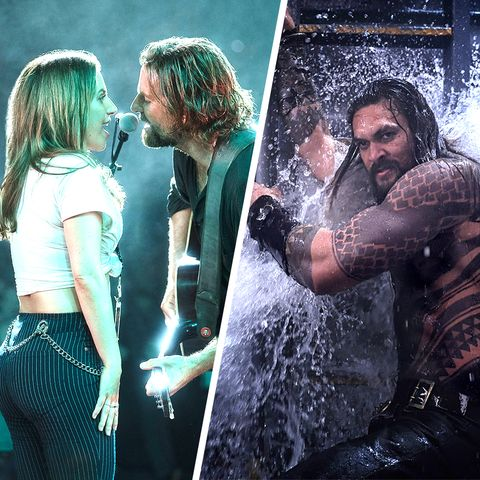 Still from A Star Is Born and Aquaman