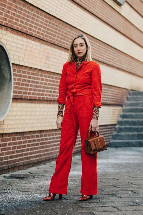Red, Clothing, Street fashion, Fashion, Orange, Jeans, Outerwear, Workwear, Pantsuit, Suit,