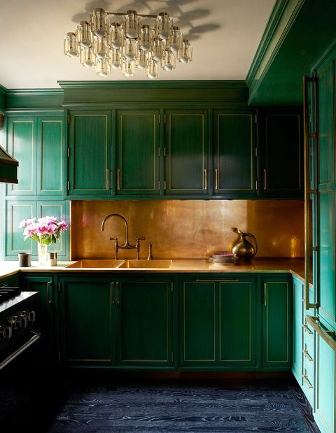 2021 kitchen trends green cabinets   elle decor