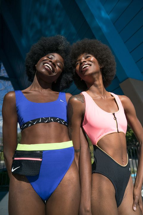 nike swimwear neon colors upcycled recycled fabric