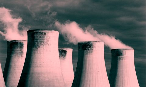 Nuclear power plant, Cooling tower, Power station, Sky, Cloud, Technology, Atmosphere, Electronic device, Colorfulness, Industry,
