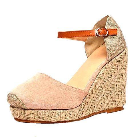 Footwear, Shoe, Orange, Beige, Sandal, Wedge, High heels, Espadrille,