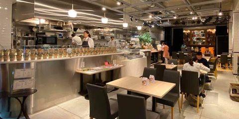 Restaurant, Building, Food court, Interior design, Café, Cafeteria, Coffeehouse, Room, Fast food restaurant, Furniture,
