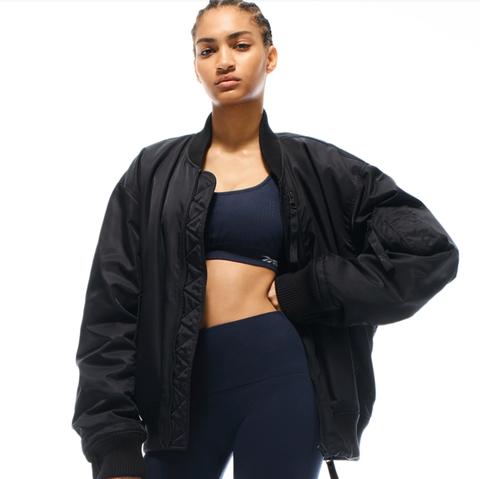 Clothing, Black, Outerwear, Jacket, Sleeve, Leather, Leather jacket, Shoulder, Top, Neck,