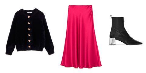 Clothing, Pink, Black, Red, Dress, Magenta, Sleeve, Fashion, Footwear, Outerwear,