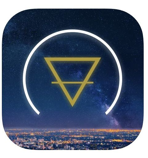 the logo for the nuit app, showing an upside down triangle and a semicircle in a sky over a cityscape