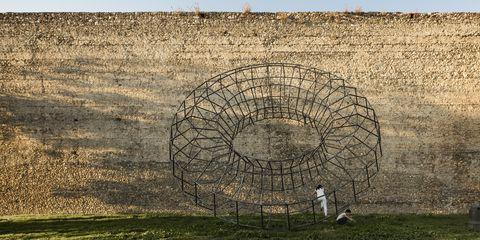 Wall, Tree, Grass, Grass family, Pasture, Environmental art, Plant, Stone wall, Rural area, Grassland,